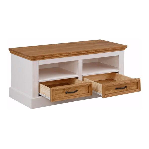 Bílá lavice z masivního borovicového dřeva se 2 zásuvkami Støraa Suzie