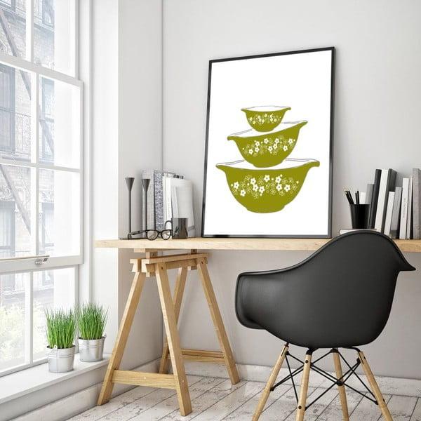 Plakát v dřevěném rámu Green bowls, 38x28 cm