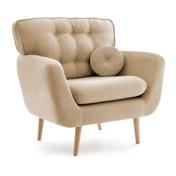 Kremowo-beżowy fotel z poduszką VIVONITA Malva