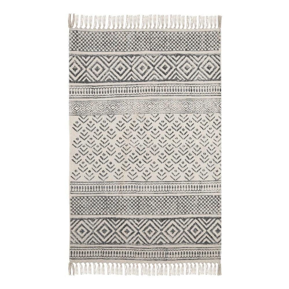 Černobílý bavlněný vzorovaný koberec A Simple Mess Mille, 90x60cm A simple Mess