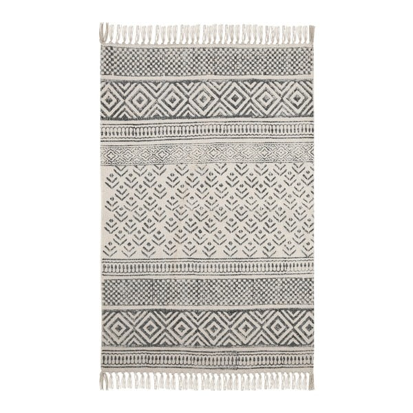 Černobílý bavlněný vzorovaný koberec A Simple Mess Mille, 90x60cm