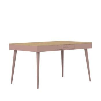Măsă cu detalii din lemn de stejar Symbiosis Horizon, roz