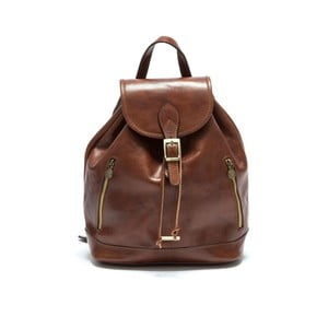 Hnědý kožený batoh Anna Luchini Bario