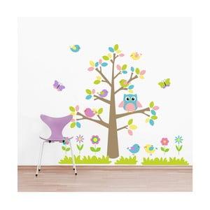 Samolepka na stěnu Barený strom a zvířátka, 2 archy, 70x50 cm