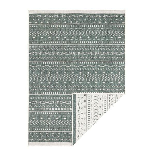 Covor reversibil adecvat interior/exterior Bougari Twin Kuba, 80 x 150 cm, verde-crem