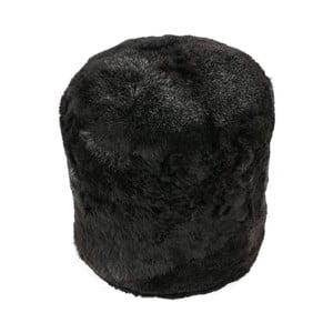 Kožešinový puf s krátkým chlupem Wolf, 42x42x46 cm