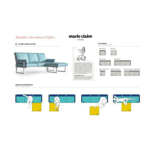 Světle modrá rohová pohovka s odnímatelnou podnožkou a bílým lemem Marie Claire Home