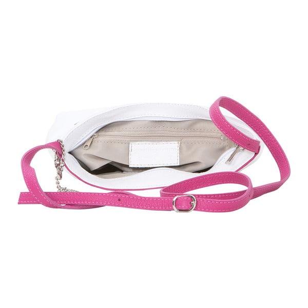 Kožená kabelka Francesco, bílá/fuchsiová