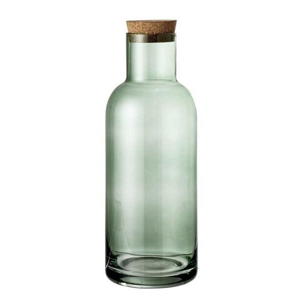Zelená skleněná lahev s korkovým víkem Bloomingville