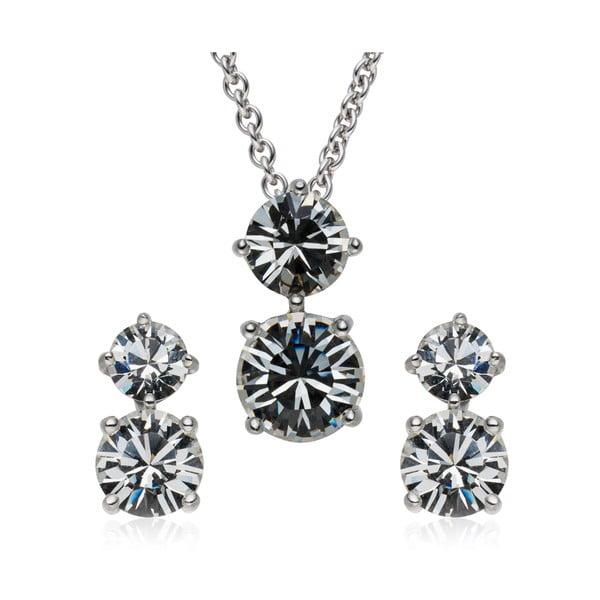 Sada náušnic a náhrdelníku Prong Crystal
