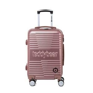 Růžový cestovní kufr na kolečkách s kódovým zámkem Teddy Bear Varvara, 44 l