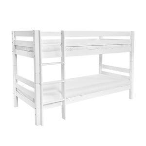 Bílá dětská patrová postel z masivního bukového dřeva Mobi furniture Mark, 200x90cm