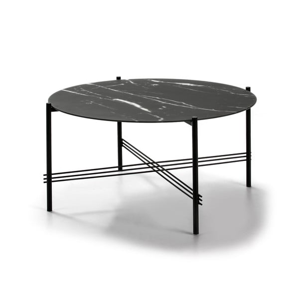 Czarny stolik ze szklanym blatem w dekorze marmuru Marckeric, ø 84 cm
