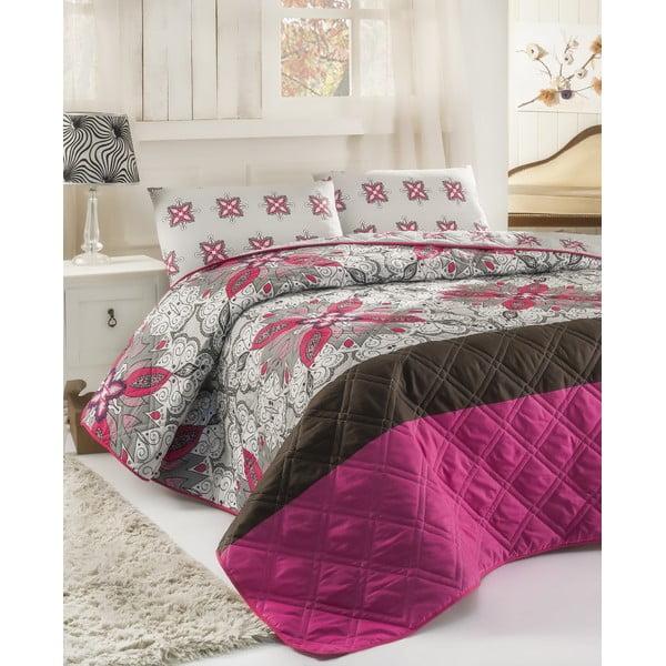 Sada prošívaného přehozu přes postel a dvou polštářů Double 281, 200x220 cm