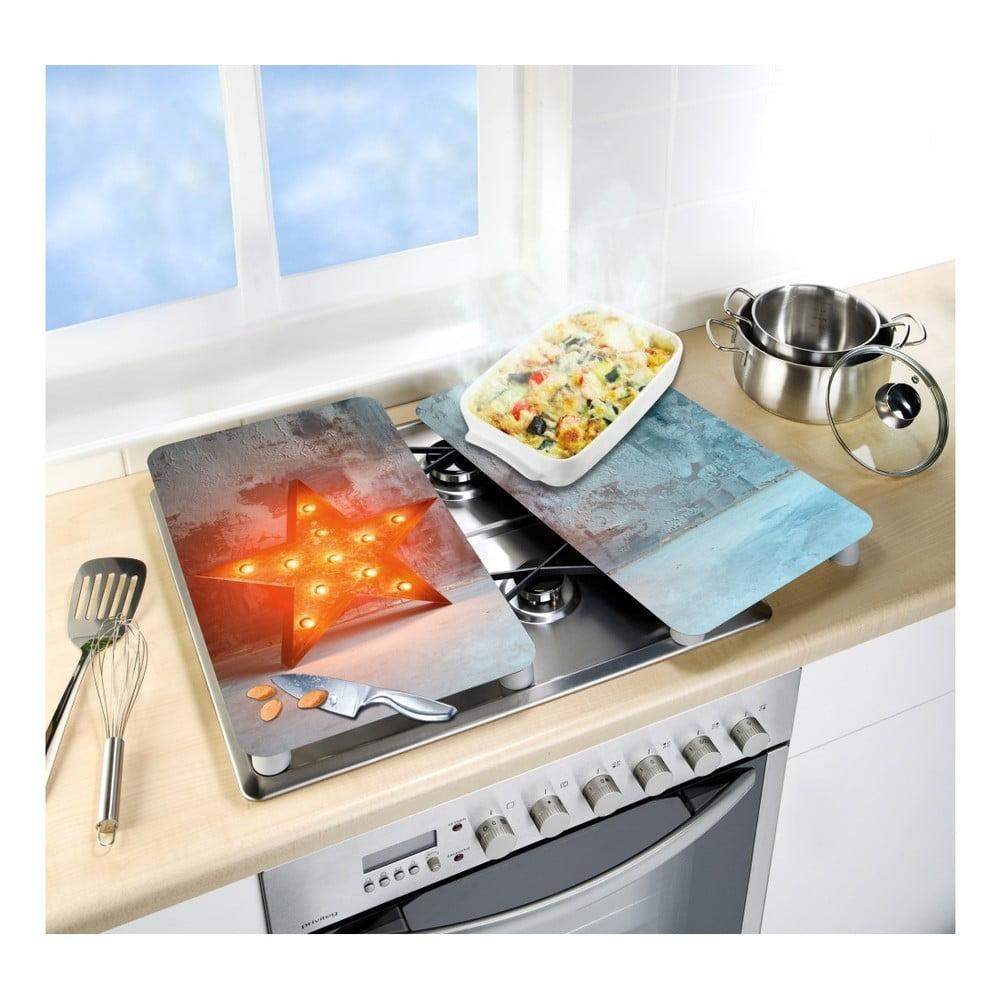 Produktové foto Sada 2 skleněných krytů na sporák Wenko Star, 52x30cm