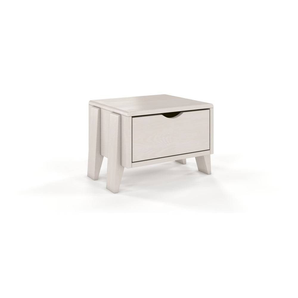Bílý noční stolek z borovicového dřeva se zásuvkou Skandica Visby Sopot
