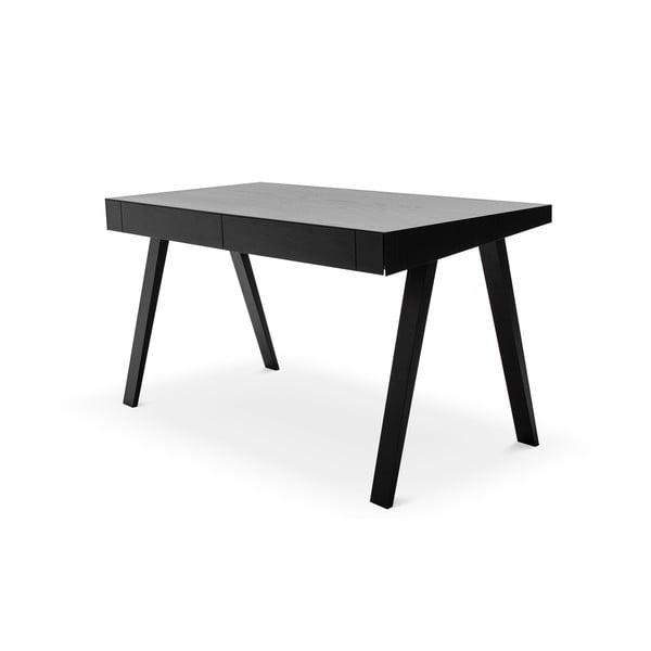Fekete asztal kőrisfa lábakkal, 140x70cm - EMKO