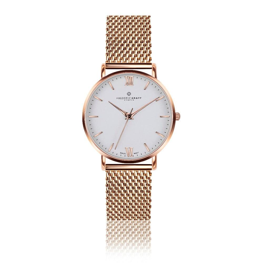Dámské hodinky s páskem z nerezové oceli v barvě růžového zlata Frederic  Graff Dent 82ca94694d