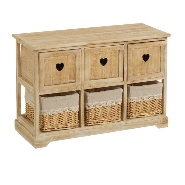 Komoda z drewna paulownia z 3 szufladami i 3 koszykami Unimasa Hannah