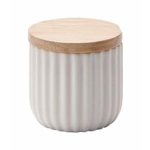 Malá bílá dóza s víčkem z dubového dřeva Aquanova Ribba