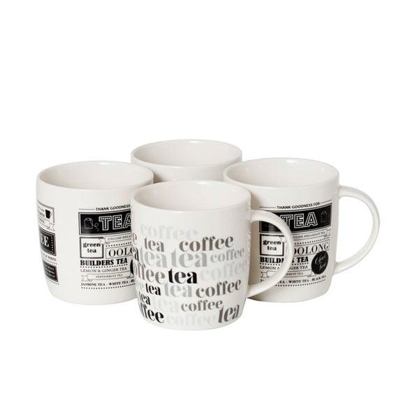 Sada 4 porcelánových hrnků Tea and Coffee
