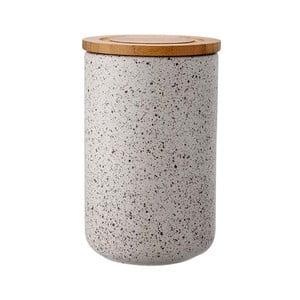 Šedá keramická dóza s bambusovým víkem Ladelle Speckle, výška 17cm