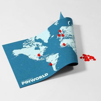 Hartă a lumii de perete Palomar Pin World Mini, 77 x 48 cm, albastru