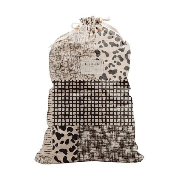 Bag Leopard szövet és lenkeverék szennyestartó zsák, magasság 75 cm - Linen Couture