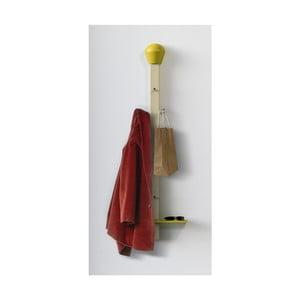 Věšák s odkládací poličkou Match, žlutý