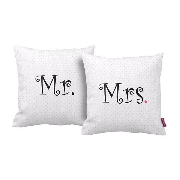 Sada 2 polštářů Mr&Mrs,43x43cm