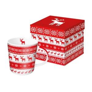 Hrnek z kostního porcelánu s vánočním motivem v dárkovém balení PPD Magic Rojo Christmas, 350 ml