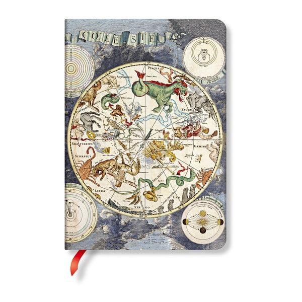 Linkovaný zápisník s tvrdou vazbou Paperblanks Celestial Planisphere, 12 x 17 cm