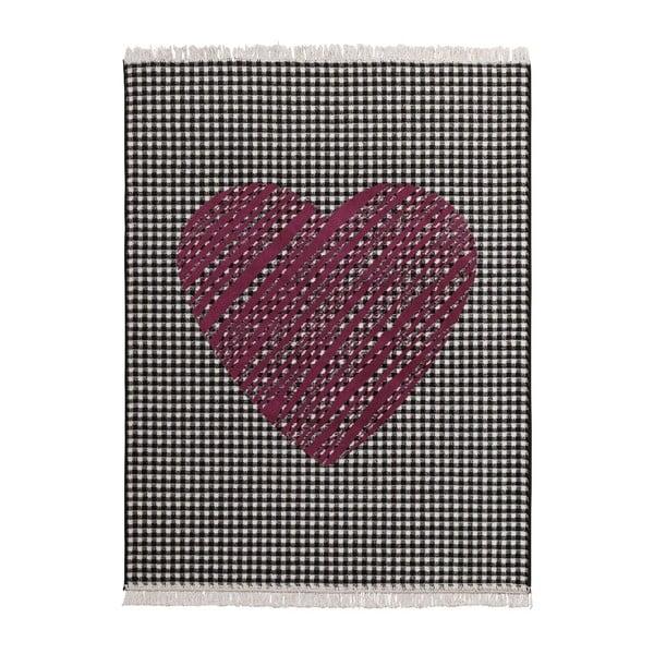 Koberec Fringe - tmavé srdce, 140x200cm