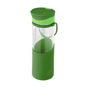 Zelená láhev na vodu se silikonovým pouzdrem Aladdin, 500 ml