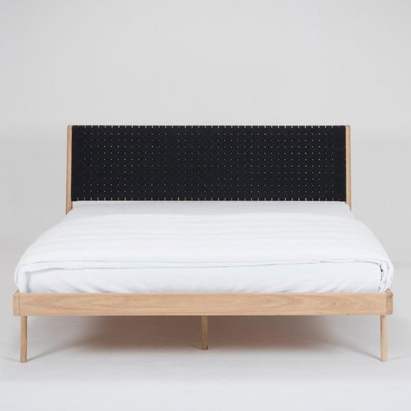 Łóżko z litego drewna dębowego z czarnym zagłówkiem Gazzda Fawn, 160x200cm