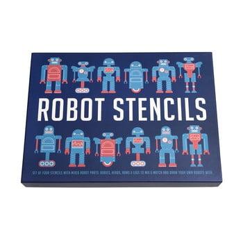 Set 4 șabloane pentru stencil cu roboți Rex London Robot Stencils imagine