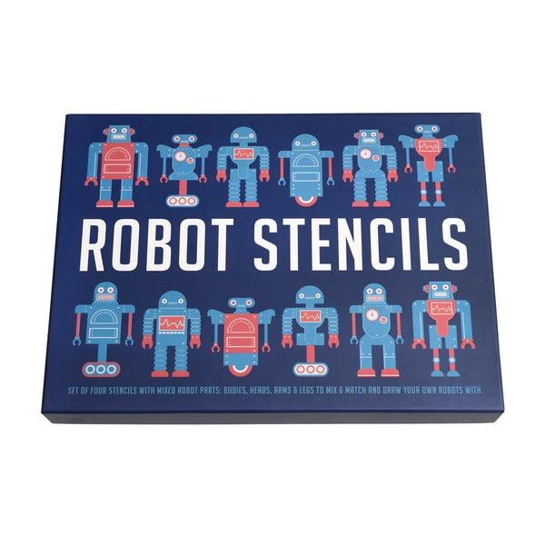 Zestaw 4 szablonów do wykonania robots Rex London Robot Stencils