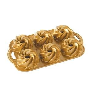 Forma na minibábovky ve zlaté barvě Nordic Ware Mini Rondo, 950 ml