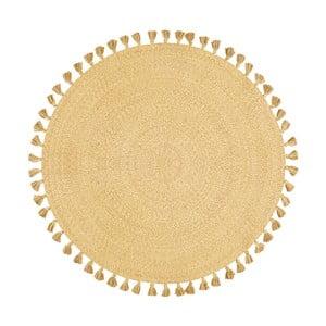 Žlutý ručně tkaný bavlněný koberec Nattiot, Ø 120 cm