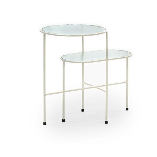 Kremowobiały stolik ze szklanym blatem Teulat Nix