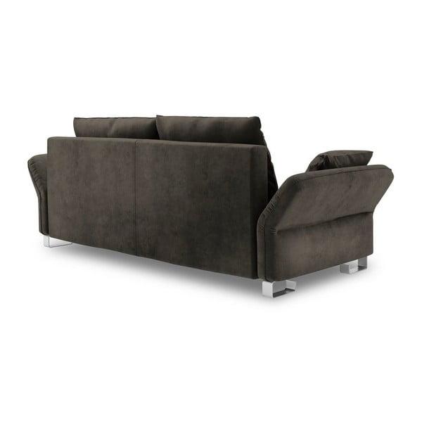 Tmavě hnědý třímístná rozkládací pohovka se sametovým potahem Windsor & Co Sofas Pyxis