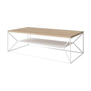 Bílý TV stolek s deskou z dubového dřeva Take Me HOME, 120x60cm