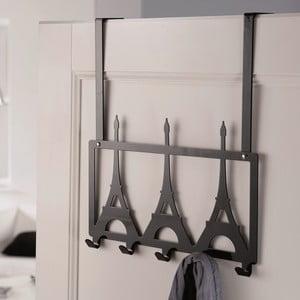 Černý věšák na dveře s 5 háčky Compactor Eiffel