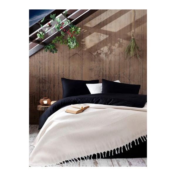 Svetlobéžový bavlnený pléd na posteľ Galina Beige White, 220×240 cm