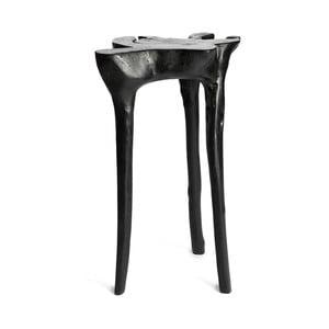 Černý příruční stolek z teakového dřeva Simla Jungle,⌀40cm