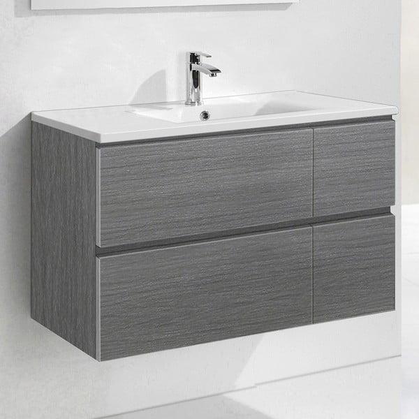 Koupelnová skříňka s umyvadlem a zrcadlem Monza, odstín šedé, 120 cm