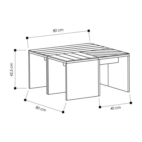 Hnědý konferenční stolek se šedou deskou Homitis Ramanu