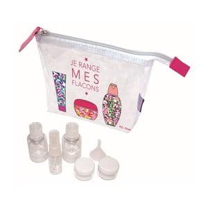 Set průhledné taštičky a 5 lahviček s nálevkou Incidence Mes Flacons