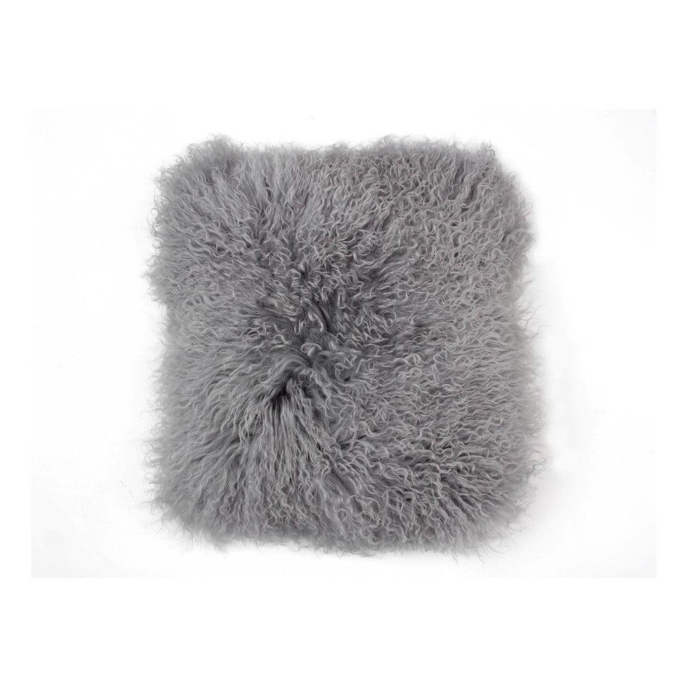 Šedý vlněný polštář z ovčí kožešiny Auskin Cait, 35 x 35 cm