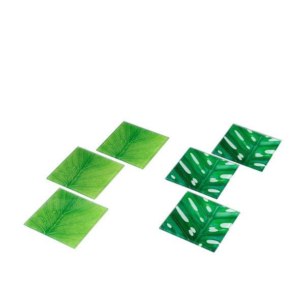 Set 6ks skleněných podtácků Green